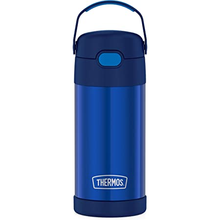 THERMOS FUNTAINER 12 Ounce Stainless Steel Vacuum Insulated Kids Straw Bottle, Blue