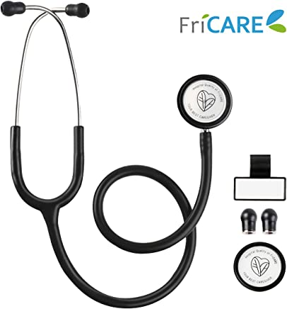 Dual Head Stethoscope for Medical and Home by FriCARE, Classic Lightweight Design, Stethoscope for Adult, Gift for Nurses, Medical Students, 28 inch (Black)