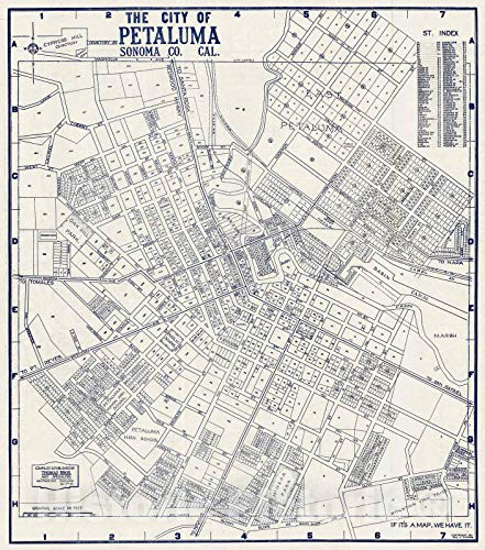Historic Map - State Atlas Map, City of Petaluma, Sonoma County, California. 1938 - Vintage Wall Art - 16in x 18in