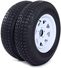 """MILLION PARTS Set of 2 15"""" Trailer Tires Rims ST205/75D15 Tire Mounted (5x4.5) Bolt Circle White Spoke Trailer Wheel With ..."""