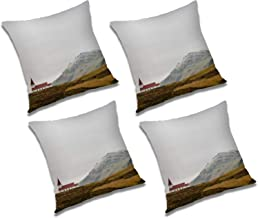 RADANYA House On Hill 3D Printed Polyester Cushion Cover Set of 4 Pcs - 16x16 Inch, Ivory