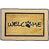 Dog Welcome Mat Front Door -Natural Eco Layered Set- Jute Rug 2x3 ft & Heavy Duty Coir Doormat 18x30 in, Absorbent Dirt Remover Dog Door Mat, Non-Slip Rubber Base & Jute Door Mat Rustic Bohemian Decor