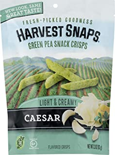 Harvest Snaps Green Pea Snack Crisps, Caesar, deliciously baked and crunchy veggie snacks with plant protein and fiber,  3.3-Ounce Bag (Pack of 12)