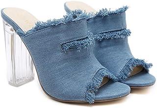 GLJJQMY Women's Open Toe Sandals Summer Denim Fringe Slipper Fashion Crystal Heel Pumps 34-40 Yards Women's Sandals (Color : Light Blue, Size : 37)