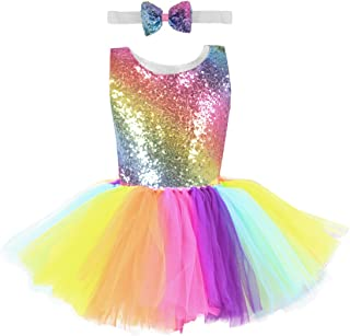 Girls Sequin Dress Unicorn Tutus Tulle Dress Mermaid Party Dress (Blue Black White Pink Rainbow Tutu Dress)