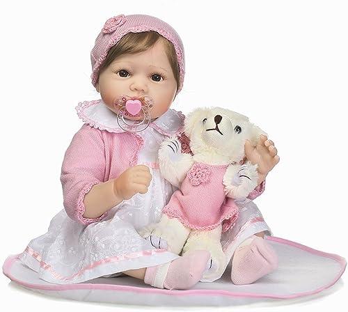 Broadroot Mode Silikon Reborn Baby Puppe Lebendig Lebendige Weißhe Stofftiere Haar Perücke Geburtstag Geschenk