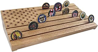 AtSKnSK 6 Rows Military Challenge Coin Display Stand American Flag Coin Holder Rack Wooden, Walnut Finish
