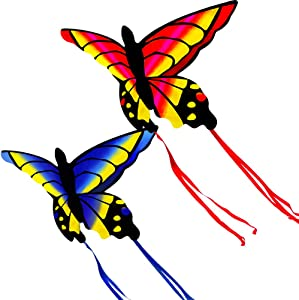 HENGDA KITE for Kids and Adults Amazing Colorful Butterfly Kite for Outdoor Games and Activities Single Line Kite with Flying Tools (Red and Blue)