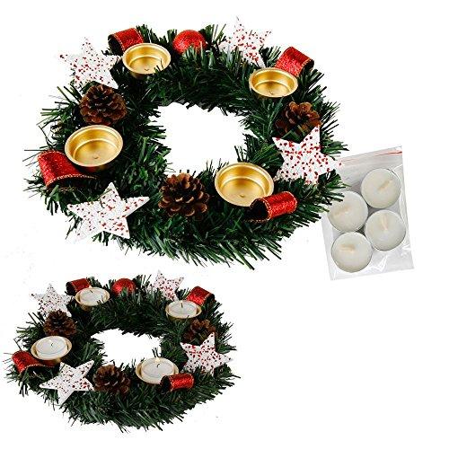 Annastore Adventskranz für Teelichter, fertig dekoriert Ø 30 cm inkl. 4 Teelichtern (Rot)