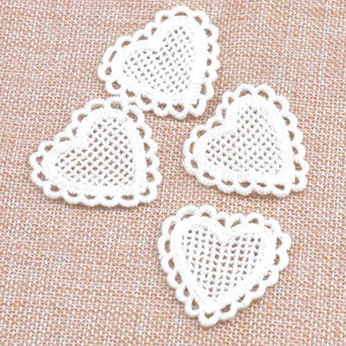 20 unids/lote algodón corazón encaje apliques ajuste para accesorios de ropa decoración coser en tela de encaje guipur CP1555