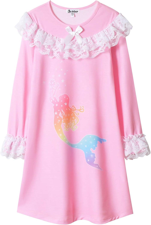 Jxstar Girls Nightgown Cotton Lace Pajamas Princess Sleepwear Long Sleeve Dresses Nightie