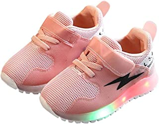 Hopscotch Girls 100% Mesh Lace Up LED Sneakers in Pink Color