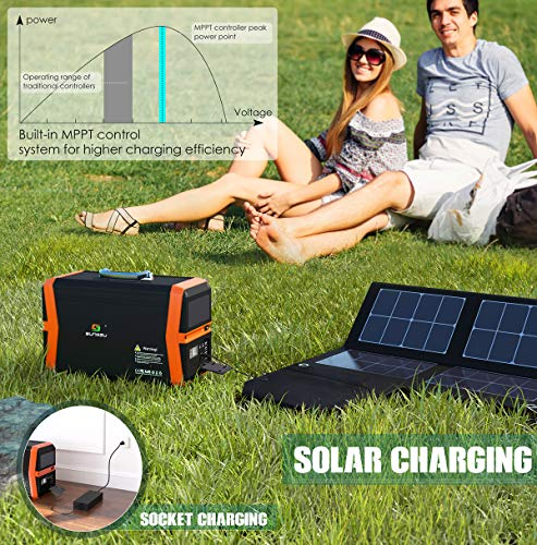 1000 Watt Solar Generators Portable Power Station, 1010Wh Emergency Lithium Battery Backup Power Supply Peak 2000W with 2 110V AC Outlet, 2 DC, 4 USB for Camping, Home, Outdoor, Emergency