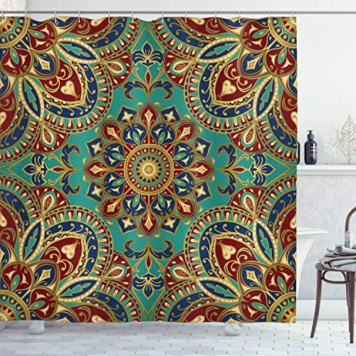 ABAKUHAUS Mandala Duschvorhang, orientalisch, Wasser Blickdicht inkl.12 Ringe Langhaltig Bakterie & Schimmel Resistent, 175 x 220 cm, Indigo Rubin