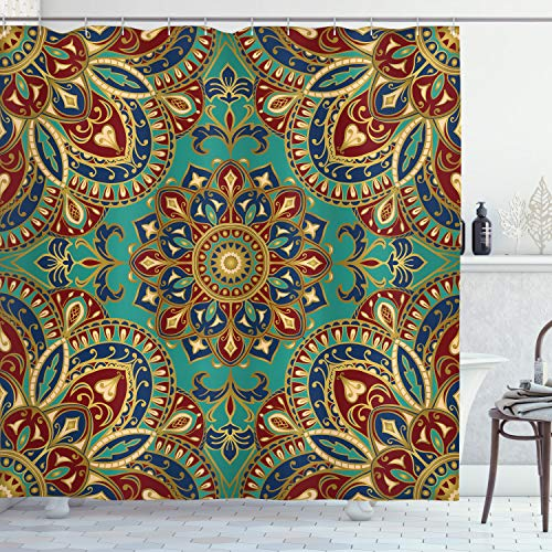Ambesonne Mandala Shower Curtain, Pattern with Mandala Style Eastern Medieval Arabesque Motifs Oriental Ethnic, Fabric Bathroom Decor Set with Hooks, 75 inches Long, Red Green Blue