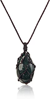 ODMNDKL Indian Agate Emerald Necklaces For Women And Men Green Quartz Crystals And Healing Stones Jewelry Cord Adjustable ...
