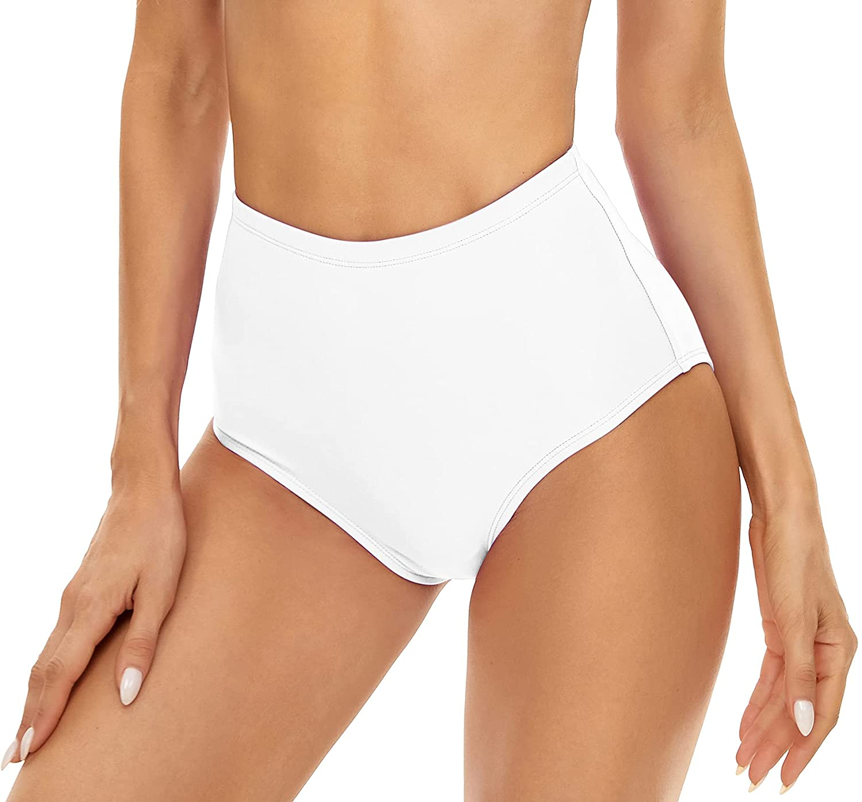 Annbon Women's High Waisted Bikini Bottoms - Full Coverage Tankini Bathing Suit Bottoms - Swim Dance Briefs
