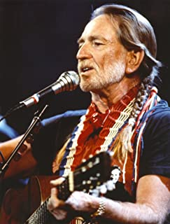 Willie Nelson Playing Guitar in Black Shirt Photo Print (24 x 30)