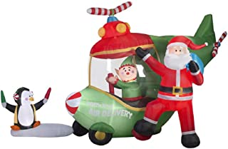 18.5 Ft. Animated Airblown Santa and Elf Helicopter Christmas Inflatable - North Pole Air Delivery!