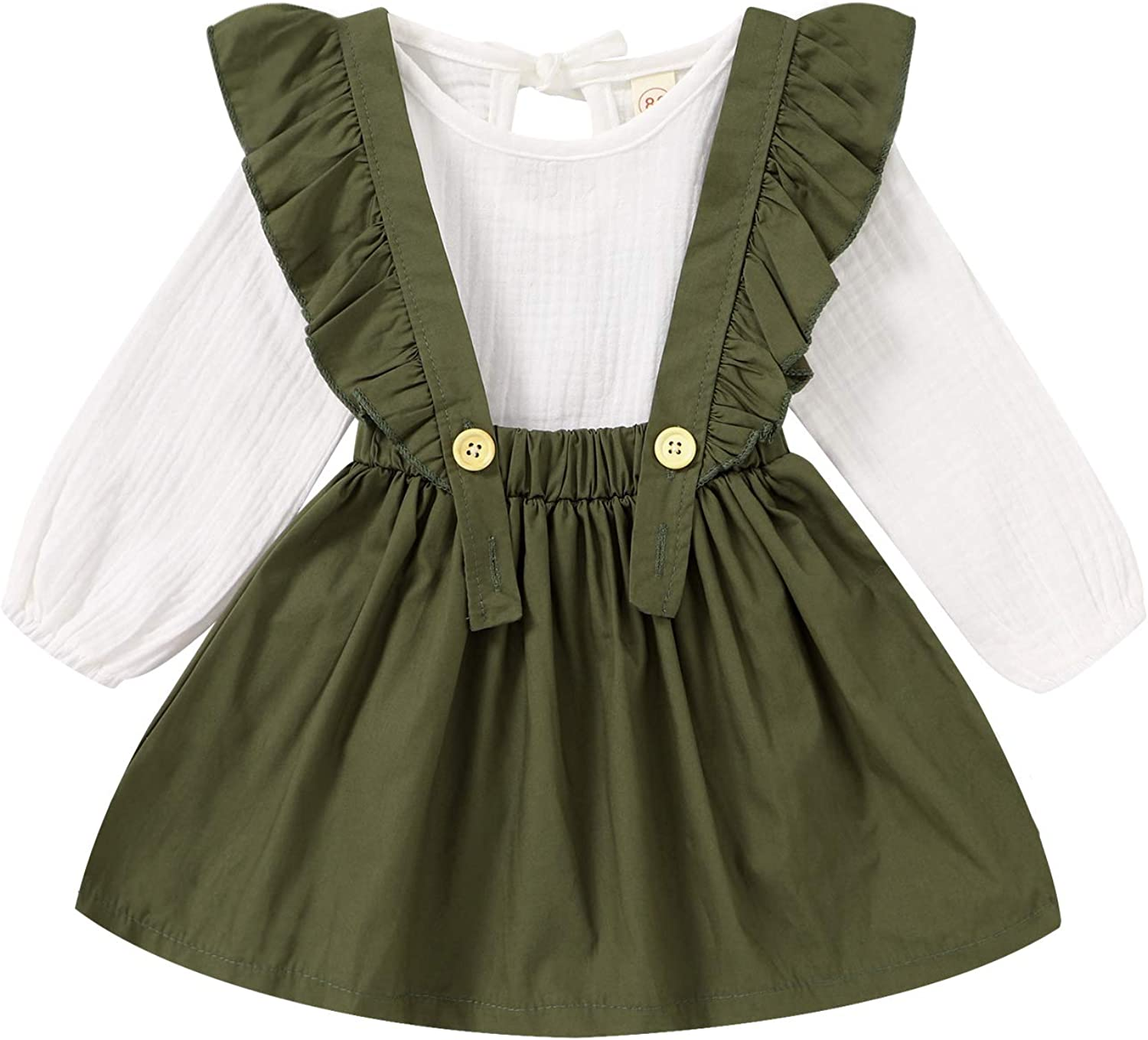 Toddler Baby Girl Suspender Skirt Sets Cotton Linen Shirts Ruffle Suspender Dress Fall Outfits Winter Clothes
