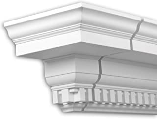 Elemento frontal Profhome 401332 Moldura para exteriores Elemento decorativo Elemento de fachada diseño atemporal clásico blanco