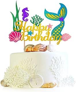BUSOHA Glitter Mermaid Cake Topper Happy Birthday Cake Picks Mermaid Cake Decoration for Mermaid Baby Shower Birthday Party Supplies(1 piece)