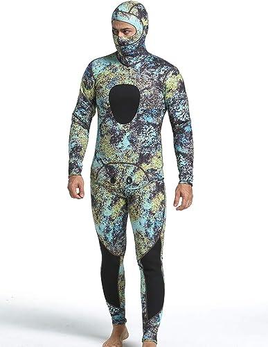 Combinaison en néoprène 3 mm pour hommes,cagoule en deux parcravates camouflage,combinaison de plongée professionnelle au dos avec fermeture à glissière au dos Sports nautiques extensibles,Camouflage2,M