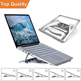 """Portable Laptop Stand Foldable - Pccooler Aviation Aluminum Alloy Laptop Holder Desk Stand, Ventilated 5 Angle Adjustable Laptop Stand for MacBook Pro/Air, Dell, HP, Gateway, ASUS, 9-17.3"""" Laptops"""
