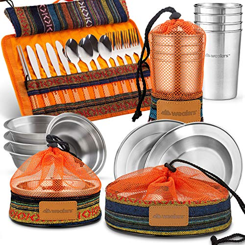 Wealers Unique Complete Messware Kit Polished Stainless Steel Dishes Set| Tableware| Dinnerware| Camping| Buffet| Includes - Cups | Plates| Bowls| Cutlery| Comes in Mesh Bags (4 Person Set) (Orange)