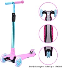 WonderView Kick Scooter for Kids 3 Wheel Scooter,4 Height Adjustable(2-14 Years) PU Wheels with Extra Wide Deck Best Gifts for Kids, Boys and Girls