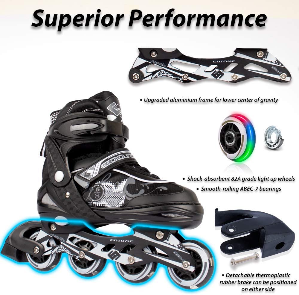 Outdoor and Indoor Inline Skates for Casual and Beginner Skaters Protective Gear Included Generic VyperX Adjustable Roller Skates with Light Up Wheels