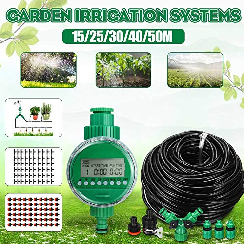 STHfficial 15/25/30/40 / 50m Sistema De Riego Automático con Temporizador De Riego Kit De Plantas De Invernadero para Flores Plantas Bonsai Cuidado Inteligente,40m50tap