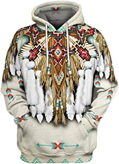 Xmiral Hoodie Felpa Outwear Uomo Felpa Blusa con Cappuccio a Maniche Lunghe Stampa Stile Etnico 3D Vintage