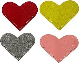 xiaowang 4 stks PU lederen hartvormige ontwerp bladwijzers, gepersonaliseerde pagina hoek bladwijzers, hervat, geschenken ...