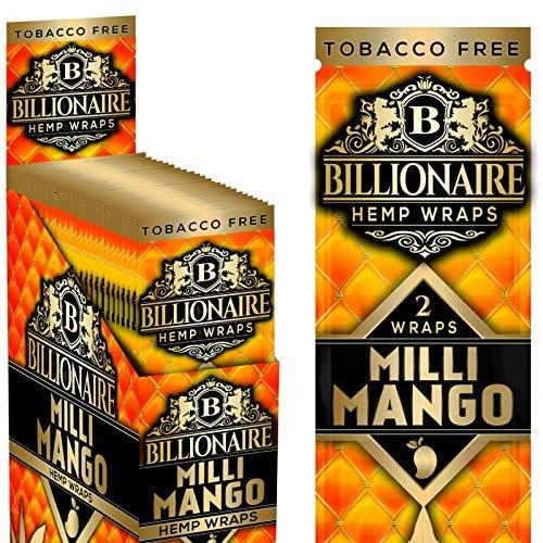 Billionaire Hemp Wraps! Organic Wraps, Tobacco Free! – (Milli Mango, 25 Packs)