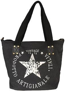 Star Shopper Bag Vintage Stern Damen Stamp Tasche Fashion Henkeltasche Canvas Stoff