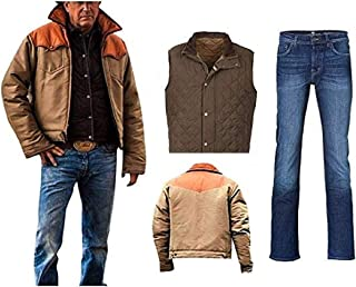 Men's Yellow Biker Stone Cow Boy Kevin Hi-Quality costner Cotton Jacket Vest Costume