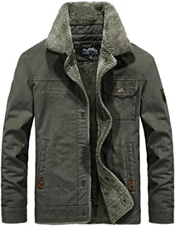 Men's Fashion Casual Cotton Military Jacket Add Velvet and Bigh Size for Winter