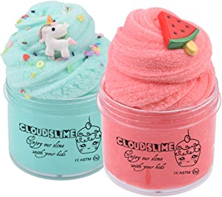 2 Pack Cloud Slime Kit with Unicorn Slime and Watermelon Slime ,Super Soft and Non-Sticky Fluffy Slime for Boys and Girls