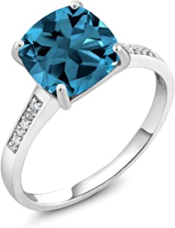 10K White Gold London Blue Topaz and Diamond Ring 2.74 Ctw Cushion Cut (Available 5,6,7,8,9)