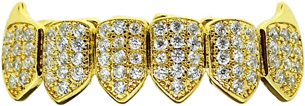 18K Gold Plated Fangs CZ Bottom Grillz Lower Row Cubic Zirconia Micro Pave Teeth Iced Vampire Grills