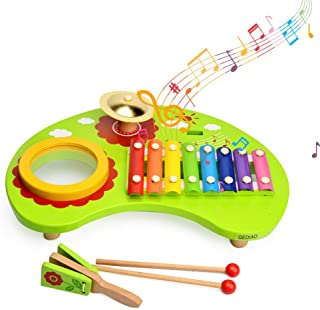 GEDIAO Mini Band Wooden Percussion Instrument, Xylophone Musical Toys with Wooden Mallets, Educational Toys for Kids and Toddlers