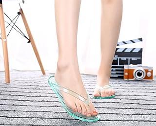 GOWOLD Zapatillas de baño de casa de Verano Transparente Antideslizante Plano de Cristal Transparente pies Flip Flops Sand...
