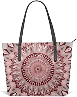 Pink And Grey Mandala Leather Tote Large Purse Shoulder Bag Portable Storage HandBags Convenient Shoppers Tote