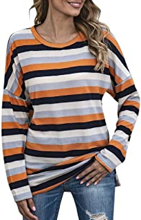 S-Fly Women's Stripe Casual Loose Fit Plus Size Round Neck Long Sleeve T-shirt