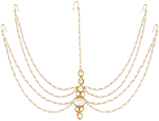 I Jewels Traditional Pearl & Stone Mathapatti Maang Tikka for Women T1082W (White)