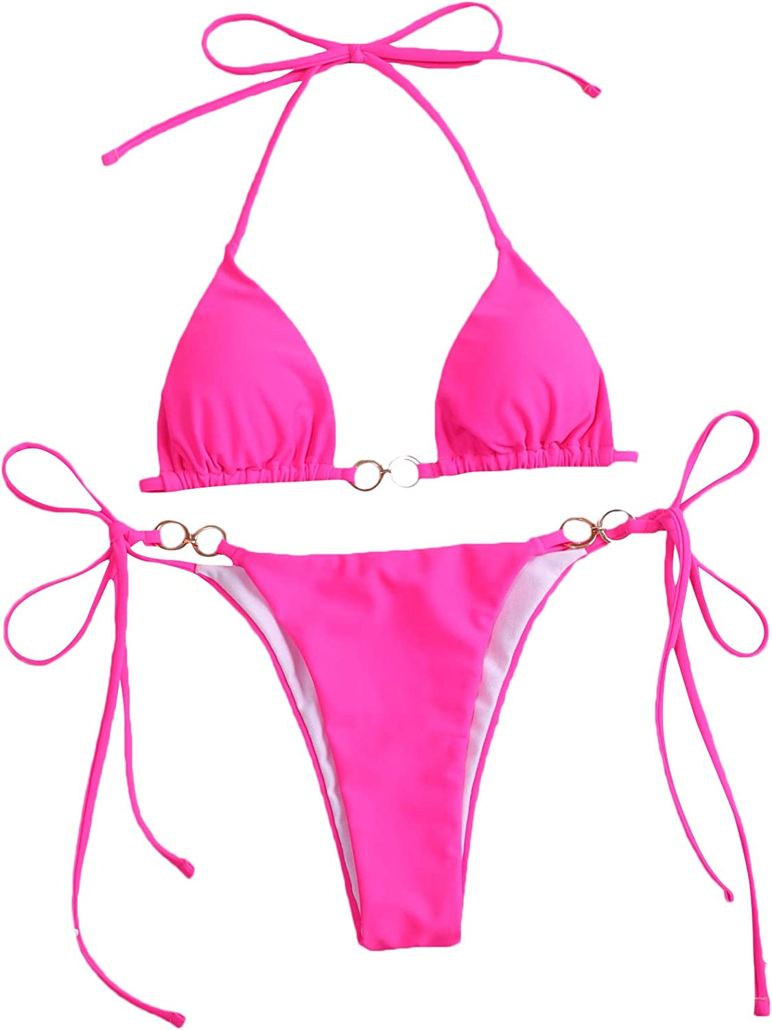 SOLY HUX Women's Sexy Halter Triangle Tie Side Bikini Bathing Suit 2 Piece Swimsuits Pink S