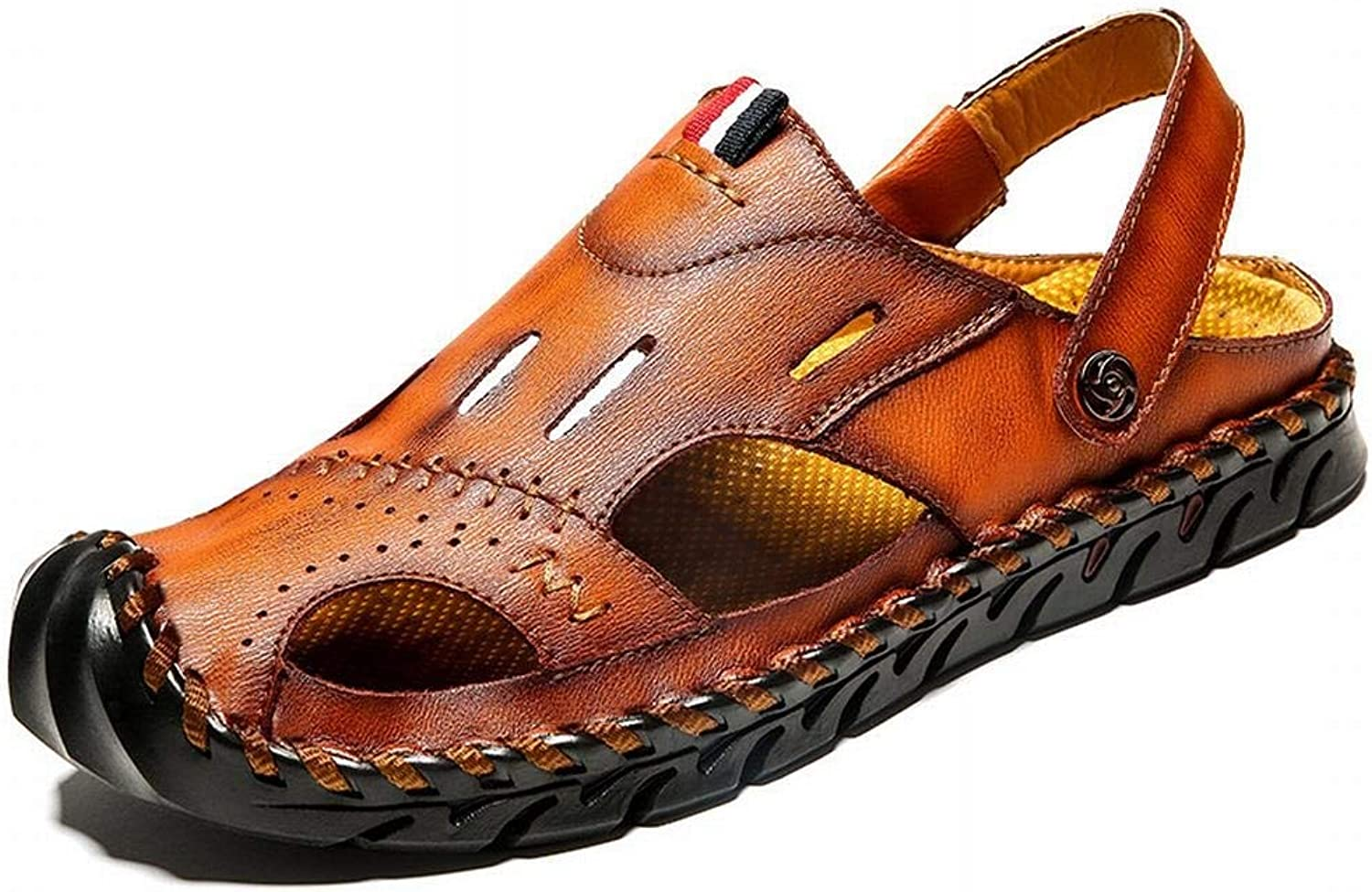 Easy Go Shopping Outdoor Casual shoes Leather Baotou Sets Of Feet Sandals And Slippers Sandals Men's shoes Cricket shoes (color   Red brown, Size   41)