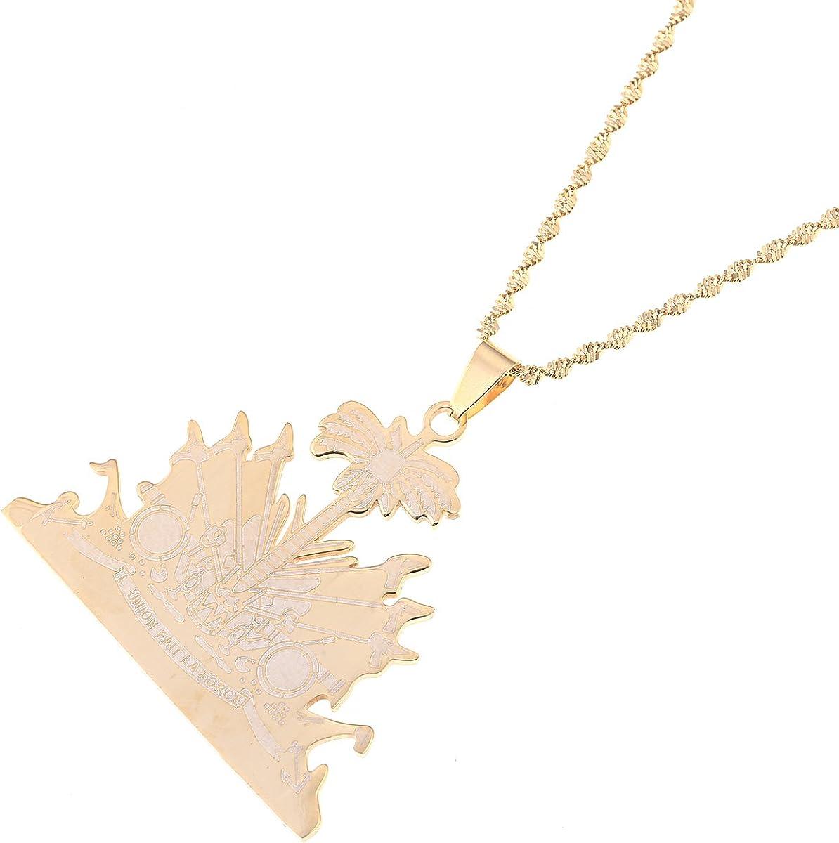 Stainless Steel Haiti Pendant and Necklace Ayiti Items Haiti Jewelry