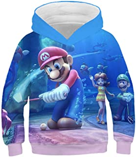 hhalibaba 3D Mario Imprimer Gar/çons et Filles Sweats /À Capuche Adolescents Automne Sweat /À Capuche pour Gar/çons Enfants V/êtements /À Manches Longues Pull Tops